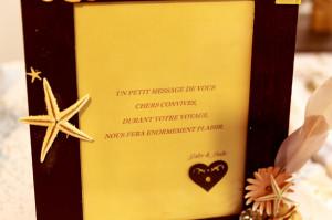 cadre décoré or et marron - message des mariés