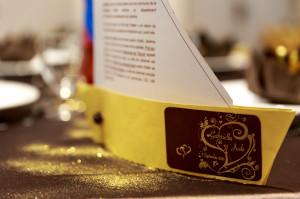 Nom de table or et marron- thème croisière