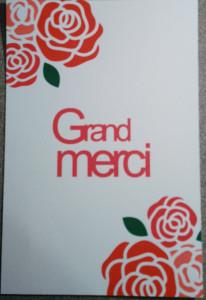 carte de remerciement rose et rouge